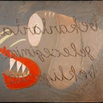 Güçlü Öztekin, Waiting for our future with the singles, 2008, Mixed media on craft paper, 144x201 cm.