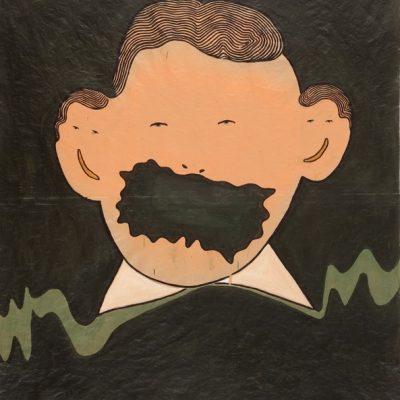 Güçlü Öztekin, Clerk, 2007, Acrylic on craft paper, 197x174 cm.
