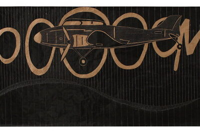 Güçlü Öztekin, Kaput, 2008, Mixed media on craft paper, 101x407 cm.