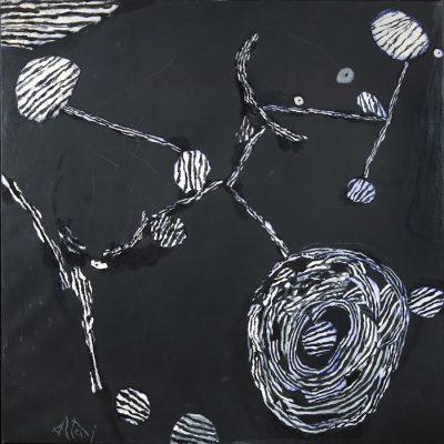 Altay Sadıkzade, Oil and mixed media on canvas, 150x150 cm.