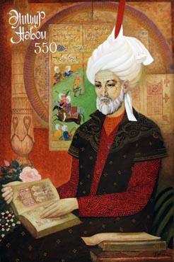 Elmira Sahtahtinskaya, Portrait of dedicated to Ali Şir Nevai's 550th year, 1991, Oil on canvas, 90x60 cm.