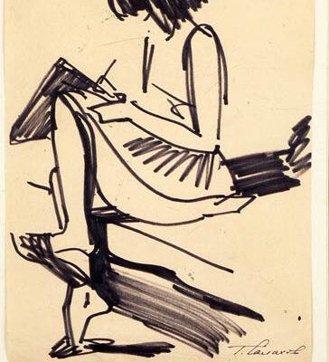 Tahir Salakhov, Charcoal on paper, 45x32 cm.