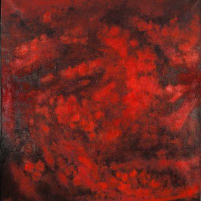 Sabina Shikhlinskaya, Dangerous red, 2008, Oil on canvas, 195x180 cm.