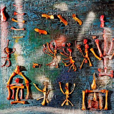 Fahrelnissa Zeid, Composition with bones, Mixed media on canvas, 50x55 cm.
