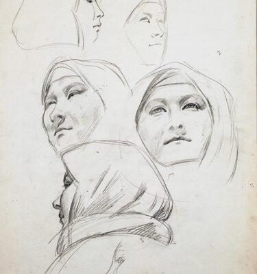Dmitri Zhilinski, 1958, Charcoal on paper, 63x44 cm.
